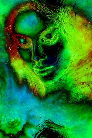 Mystic woman and sea shell in cosmic space. Glass effect. Stock Photo