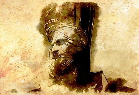 meditation man: Jesus on the cross, avanrgard interpretation with graphic stylization. Sepia effect.