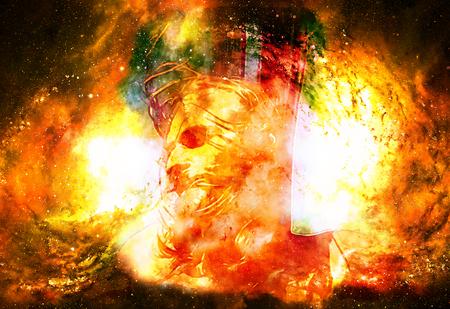 interpretation of Jesus on the cross in cosmic space. Fire effect.