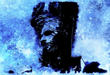 Jesus on the cross, avanrgard interpretation with graphic stylization. Winter effect.