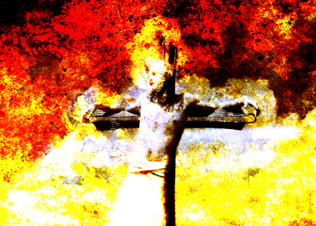 version: interpretation of Jesus on the cross, graphic painting version. Fire effect.