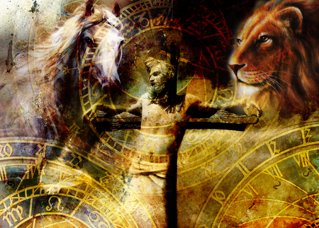 redemption: interpretation of Jesus on the cross and animals and zodiac, graphic painting version. Sepia effect.