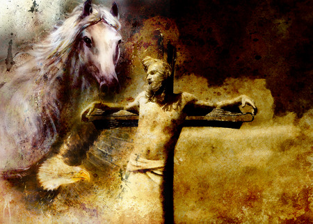 redemption: interpretation of Jesus on the cross and animals, graphic painting version. Sepia effect.