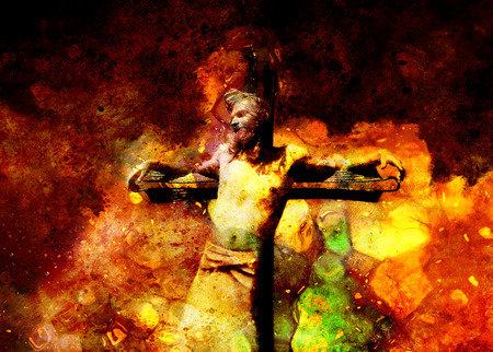 meditation man: interpretation of Jesus on the cross, graphic painting version.