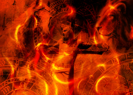 interpretation of Jesus on the cross and animals and zodiac, graphic painting version. Fire effect.