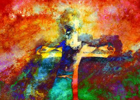 meditation man: Jesus on the cross, avanrgard interpretation with graphic stylization.