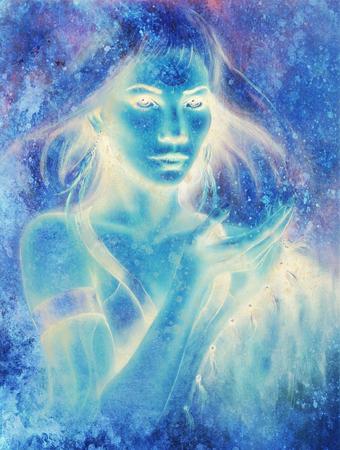 Diosa mujer y fondo abstracto. Pintura y diseño gráfico. Efecto de invierno