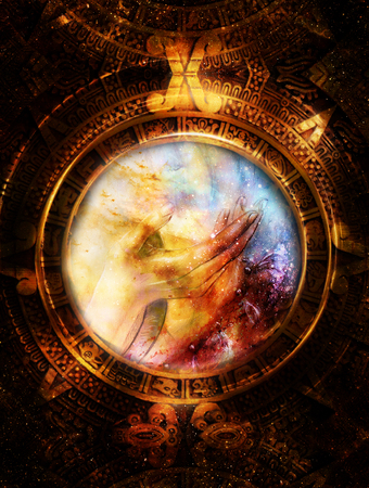 Ancient Mayan Calendar and woman hand in cosmic space. computer collage