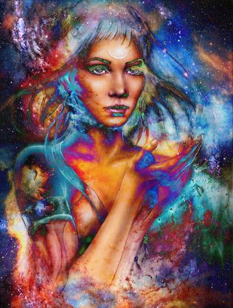 宇宙空間で女性は女神。宇宙空間の背景。 写真素材