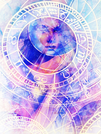 tribal aquarius: Painting Goddess Woman and zodiac. Computer collage and marble Structure.