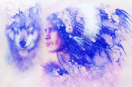 painting of a young indian warrior wearing a gorgeous feather headdress with wolf. Marble structure. Stock Photo