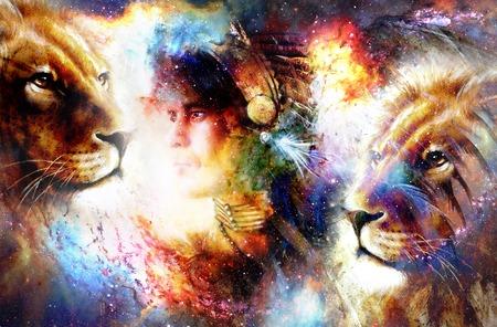 ライオンとゴージャスな羽飾りを身に着けている若いインディアンの戦士の絵。宇宙の背景。横顔の肖像画。 写真素材