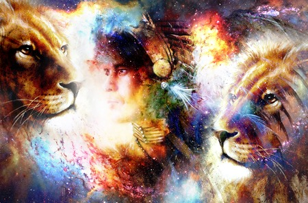painting of a young indian warrior wearing a gorgeous feather headdress with lion. Cosmic background. profile portrait.