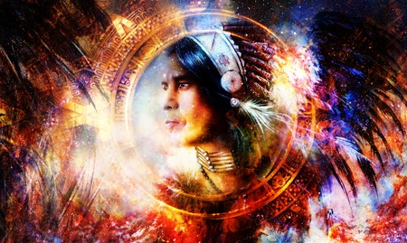 painting of a young indian warrior wearing a gorgeous feather headdress and mayan calendar ornament. Cosmic background. profile portrait.