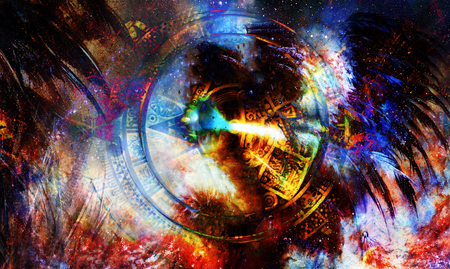 Ancient Mayan Calendar and feathers in Cosmic space. computer collage.