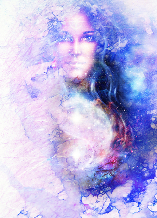 goddess woman and symbol Yin Yang in cosmic space. Marble structure. Stock Photo