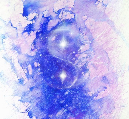 Cosmic Yin Yang Symbol and marble background.