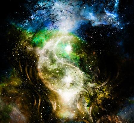 宇宙空間で陰の陽のシンボル。宇宙の背景。