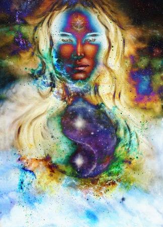 enchantress: goddess woman and symbol Yin Yang in cosmic space.