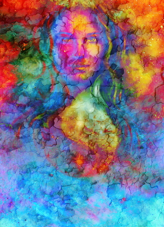 goddess woman and symbol Yin Yang in cosmic space. Crackle effect. Stock Photo