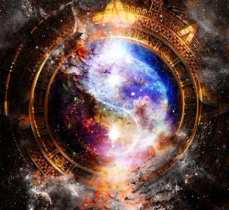 earth day: Yin Yang Symbol in maya calendar. Cosmic space background.