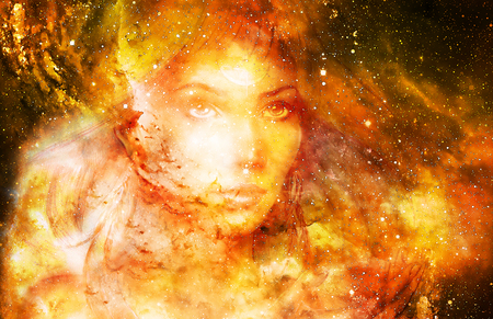 Goddess Woman in Cosmic space. Cosmic Space background. eye contact. Fire effect. Reklamní fotografie