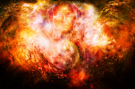 goddess woman and symbol Yin Yang in cosmic space. Fire effect.