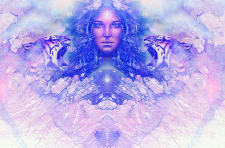女神女性とタイガー。コンピューターのコラージュおよび大理石の構造。 写真素材