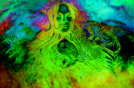 goddess woman and tiger and symbol Yin Yang in cosmic space. Glass effect.