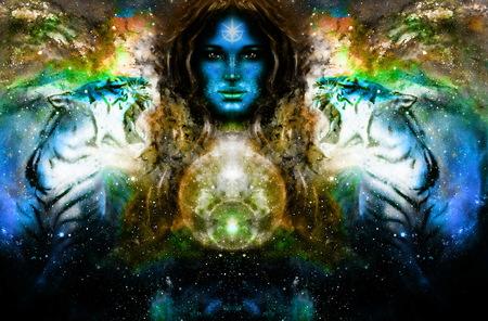 女神女性と宇宙空間に虎。