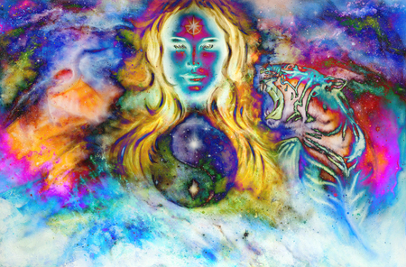 goddess woman and animals and symbol Yin Yang in cosmic space.