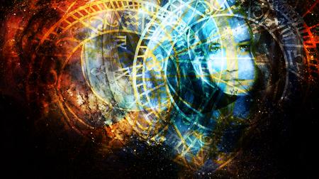 Godin Vrouw in kosmische ruimte en dierenriem.