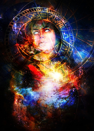 Goddess Woman in Cosmic space and zodiac. Stock Photo