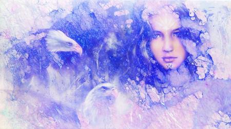Diosa mujer y águilas. Collage de computadora y estructura de mármol.