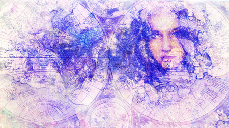 Goddess Woman and old map. Computer collage and marble Structure. Stock fotó
