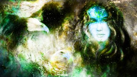 여신 여자와 독수리 우주 공간에서.