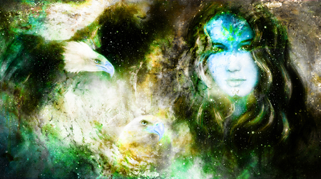 Goddess Woman and eagles in Cosmic space. Stock Photo