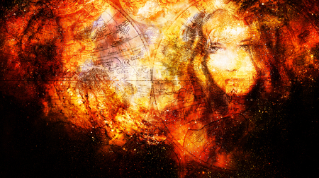Goddess Woman and old map in Cosmic space. Cosmic Space background. eye contact. Fire effect.