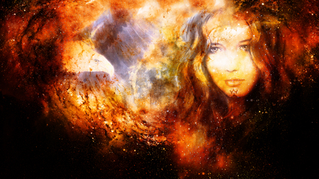Goddess Woman and eagles in Cosmic space. Fire effect.