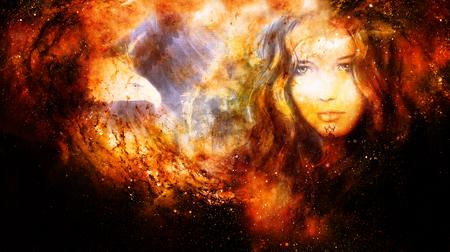 Godin Vrouw en adelaars in kosmische ruimte. Brand effect.