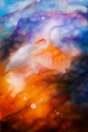 harmonic: abstract watercolor style background with beautiful harmonic colours and bird motive