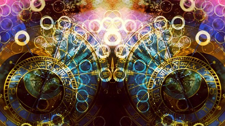 astrological symbol Zodiac. Abstract color background. Computer collage. 写真素材