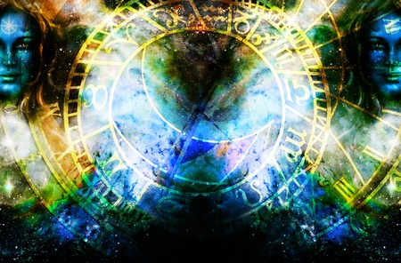 Goddess Woman in Cosmic space and zodiac. Imagens