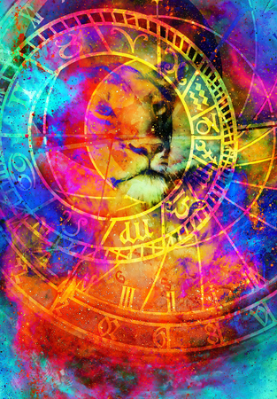beautiful painting of lioness with zodiac motive in floating space energy and light. Stock Photo