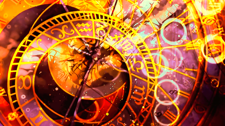 astrological symbol Zodiac. Abstract color background. Computer collage. Stok Fotoğraf