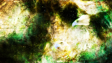 Eagle and old map in cosmic space. Profile portratit. Computer collage.