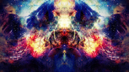 Cosmic space and stars, color cosmic abstract background. Mirror effect.