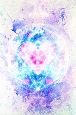 Light merkaba and heart on marble background. Foto de archivo