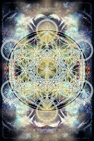 Light merkaba and Flower of life on abstract color background. Sacred geometry.