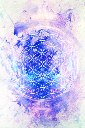 Flower of life on abstract color background. Marble effect